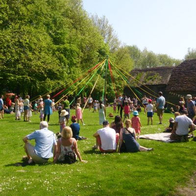 Avoncroft Museum plenty of visitors on May Day enjoying watching the Maypole dancing